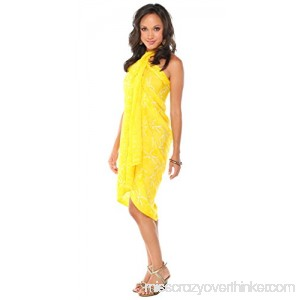 1 World Sarongs Womens Dragonfly Swimsuit Cover-Up Sarong Yellow B009RVUISC