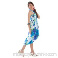 1 World Sarongs Womens Hanalei Floral Swimsuit Cover-Up Sarongs Turquoise White B07BWBFHB7