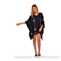 1 World Sarongs Womens Poncho Cover-Up in Your Choice of Design Black White B01JJOCE4C