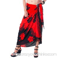 1 World Sarongs Womens Split Color Hibiscus Flower Swimsuit Cover-Up Pareo Red B07CBQ3229
