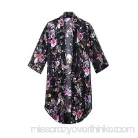 2018 Women's Floral Chiffon Kimono Cardigan Summer Blouse Swimsuit Beach Cover up Black B07CPS13CJ