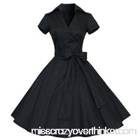 50S 60S Vintage Dresses Sleeveless for Women Solid Prom Swing Dresses with Sashes for Summer Black B07GWXCP81