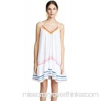 9seed Women's St. Tropez Ruffle Mini Cover Up White Rainbow Trim B07B7NTCTW