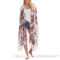Abollria Women's Loose Cover Ups Kimono Cardigan Chiffon Floral Open Front Blouses Sheer Tops S7 B078HKXWJ8