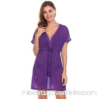 Acecor Women Short Sleeve Drawstring Sheer Chiffon Beach Bikini Cover Up Blouse Purple B0798K7NF2