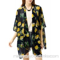 Afibi Summer Womens Beach Bikini Cover up Chiffon Floral Kimono Swimwear Loose Cardigan Lemon B0797QP5D4
