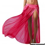 Aisa Women's Beach Bikini Covers Sexy Perspective Gauze Bohemian Maxi Split Skirt Red B0722N2GL4