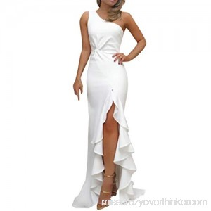 Alangbudu Women'S One Shoulder Ruched Ruffle Evening Long Split Bodycon Dress White B07N1S6DNS