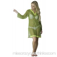 Alki'i Copacabana Long Sleeve Embroidered Beach Tunic Cover Up Green B07BTRC6K3