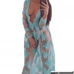 Aniywn Sexy Mesh Lace Long Maxi Dress Women Deep V-Neck Long Sleeve Beach Cover Up Bathing Suit Blue B07N8N992G