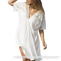 Auwer Cover up Dress Women's Lace Swimwear Cover up Dress Beach Sexy Swimsuit Smock Blouse White B078N46S7V