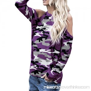 Blouses for Womens FORUU Off Shoulder Sexy Camouflage Long Sleeve Tops T Shirts Purple B07G19869J