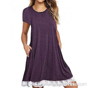 Ecolley Womens Loose Short Sleeve T Shirt Tunic Dress with Pockets for Summer Casual Round Neck 02-purple B07FVVXDZW