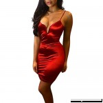 Euone Dress Clearance Sales Women Fashion V-Neck Solid Sexy Spaghetti Strap Slim Package Hip Sling Dress Red