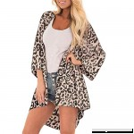 Euone Women Tops Clearance Sales Women Leopard Print Cover Casual Blouse Tops Kimono Bikini Cardigan Capes Cover Brown