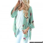 Funic Fashion Womens Spring Summer Chiffon Shawl Print Kimono Cardigan Top Cover Up Blouse Beachwear Green B07M9BN4QZ