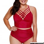 HULKAY Women's Plus Size Two Piece Swimwear Strappy High Waist Bikini Swimsuit for Women XL-XXXXXL Wine B07N5BVVBZ