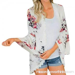 Hmlai Clearance Women Chiffon Cardigan Floral Print Kimono Smock Cover Loose Coat Top for Autumn Spring White B07G6H8YSV
