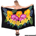 LA LEELA Sarong Bathing Suit Pareo Wrap Bikini Cover ups Womens Skirt Swimsuit Swimwear Black_m795 B07P2MMRW5