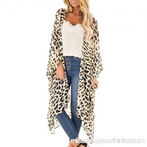 Redacel Women Fashion Sexy Short Sleeve Cover Up Leopard Print V-Neck Long Cardigan Coat Beige B07Q8K2Y8P