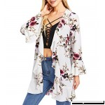 Romwe Women's Floral Cardigan Kimono Beach Cover up Loose Blouse White B078MKYBW4