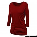 T Shirts for Womens FORUU Autumn Ruffles Solid Long Sleeve Casual Blouses Tops Wine B07G17V78K