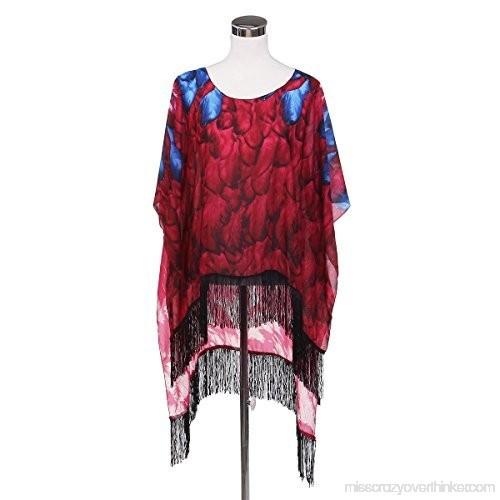 Trendsblue Large Wide Chiffon Feather Fringe Kimono Wrap Poncho Blouse Beach Cover Up Red B01dp9pdgi