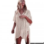 Ulanda Women Swimsuit Coverups Hollow Out Oversized Short Sleeve V Neck Loose Knit Bikini Cover up Crochet Dress One Size B07MLXFHSC