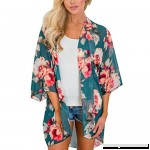 Women Summer New Floral Chiffon Kimono Cardigan Sun Protection Beach Bikini Cover Ups Blouse Tops Green B07CNTMJJ8