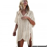 ZHCKyee Women's Bathing Suit Tunic Cover Up Beach Bikini Swimsuit Crochet Dress Beige B07B6SCXBL