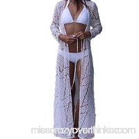 aBellety Ladies Bathing Suit Bikini Cover Up Swimsuit Beachwear Maxi Long Cardigan Floral Lace Kimono Coverups White B07DNC546P