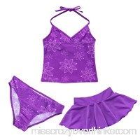ACSUSS Girls' 3 Pieces Tankini Floral Printed Halter Crop Tops Bottoms Tutu Skirt Swimwear Beachwear Purple B07JPXC31K