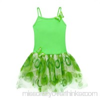 ACSUSS Kids Girls 2PCS Tankini Swimsuit Spaghetti Straps Crop Top Bra with Tutu Dress Swimwear One Piece Green B07HMY2X94