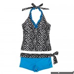 ACSUSS Kids Girls Two Pieces Tankini Swimsuit Geometric Print Halter Crop Tops Booty Shorts Swimwear Blue B07JQ8XM1N