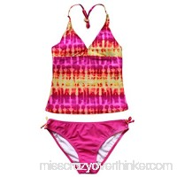 Agoky Girls Tie-Dye 2 Pieces Tankini Swimsuit Adjustable Tie Halter Swimwear Beachwear Pink B07FFQ8CYT