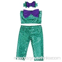Canis Little Girls' Two-piece Green Mermaid Swimwear + Big Purple Bownot Headband B06XCSTHCH