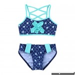 FEESHOW Girls Mermaid Swimsuit Two Piece Tankini Swimwear Bathing Suit Starfish Top with Bottom Set Dark Blue B07FXR5SZH