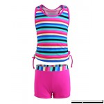 JerrisApparel Girls Two Pieces Swimwear Striped Tankini Swimsuit Bathing Suit Set Rose B07F83VHSL