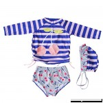 Little Girls Long Sleeve Rash Guards Swimsuit Kids 3pcs Cherry Swimwear UV Sun Protection UPF 50+ Blue B078JTT5ZS