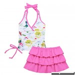 MSemis Girls' 2-Pieces Florence Tankini Swimsuit Halter Top with Ruffle Tutu Skirt Set Hot Pink B07FDNX1JR