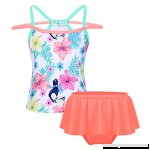 MSemis Kids Girls Flowers Printed Tankini Sleeveless Swimwear Swimsuti with Bottoms  B07FX461X5