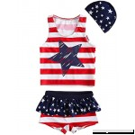 Merrybay Toddler Boy and Girl's Swimsuit 3 Piece With Stars and Stripes Red Girl B07BFBHX99