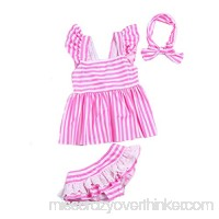 Oushiny Girls' Cute Striped Swimsuit Kids' 3-Piece Swimwear 2 Colors For 1-8 Pink B072ZYJTHJ