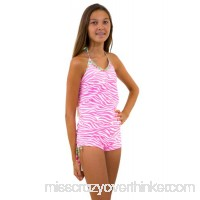 Point Conception Girls 4-16 Spring Zebra Tankini Top Boyleg Bottom Pink White B07BRZKKGF