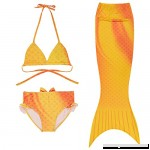 Wocharm 3PCS Kids Girls Mermaid Swimmable Tail Bikini Set Swimwear Swimsuit Bathing Suit Yellow B0776SCHSG