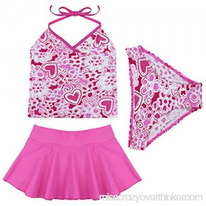 dPois Girls' Summer Flower Pattern Three-Piece Set Tankini Swimsuit Swimwear Bathing Suit Hot Pink B07C5TXJ9V