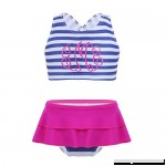 dPois Kids Girls' Striped Tankini Set Swimwear Bathing Suit Criss Cross Back Crop Top with Bottoms 2Pcs Swimsuit  B07HH9Y68D