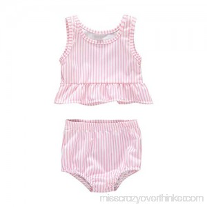 2pcs Set Baby Girl Swimsuit Bathing Suits Beach Bikini Set Pink 18-24M B07QFKYF7Q