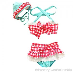 Baby Toddler Girl Plaid Bandeau Bowknot Swimsuit with Hat 3pcs Bikini Set Red B01DFLFC4E