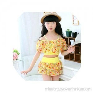 Children Polyester Floral Bathing Suit Swim Wear Big Girl Swimsuits 3-15 Years Yellow B07QCF9924